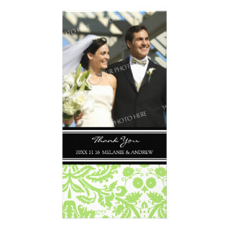 Lime Black Damask Thank You Wedding Photo Cards