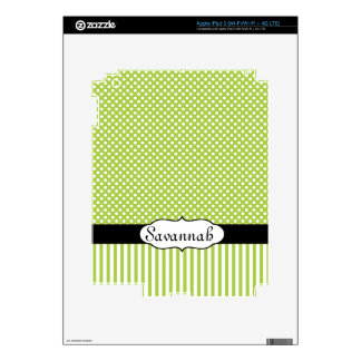 Lime & Black Dots & Stripes Personalized iPad Skin
