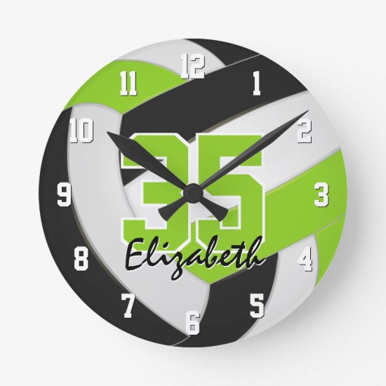 lime black girls personalized volleyball round clock