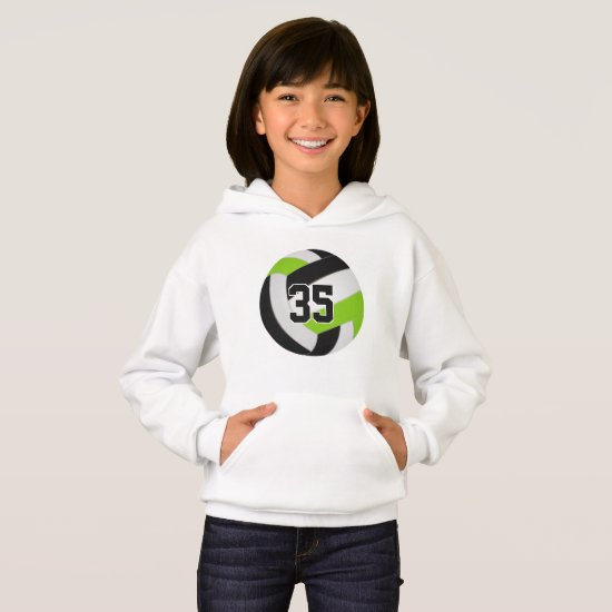 lime black jersey number volleyball hoodie