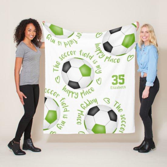 lime black soccer field my happy place girls fleece blanket