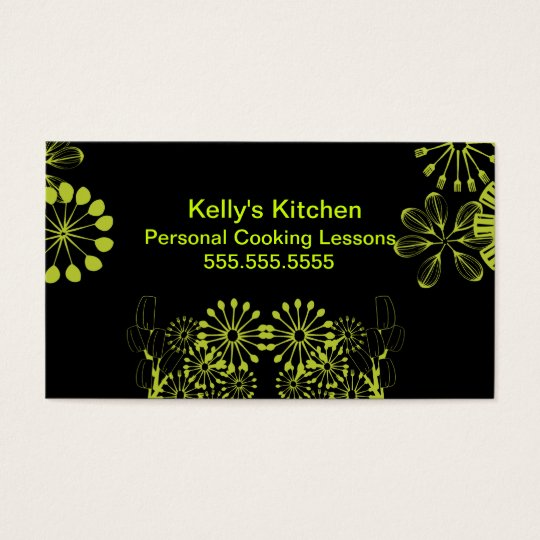 Lime & Black utensils Business Card