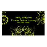 Lime & Black utensils Business Card Templates