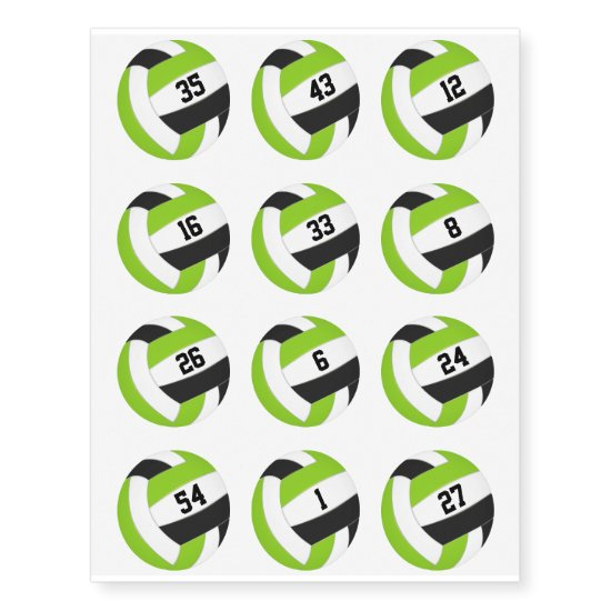 lime black volleyballs w jersey numbers set of 12 temporary tattoos