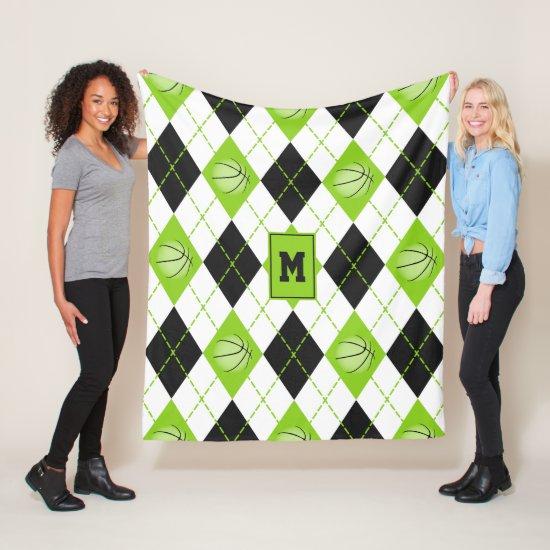 lime black white basketball themed argyle pattern fleece blanket