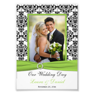 Lime, Black, White Damask Wedding Photo Print