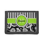 Lime, Black, White Floral, Striped Tri-Fold Wallet
