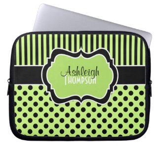 Lime, Black, White, Polka Dot Stripe Laptop Sleeve