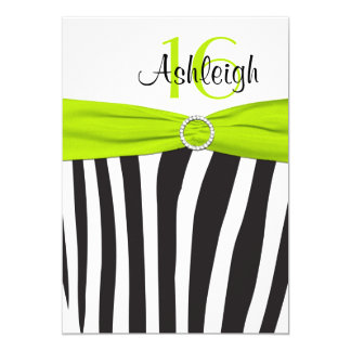 Lime, Black, White Zebra 16th Birthday Invitation