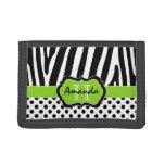Lime, Black, White Zebra Striped Tri-Fold Wallet