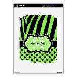 Lime Black Zebra Stripe and Polka Dots iPad 2 Skin