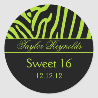 Lime Black Zebra Sweet 16 Sticker