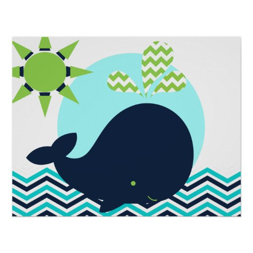 Lime, Blue, and Navy Whale Nursery Poster