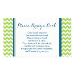 Lime Blue Chevron Baby Shower Book Request Card