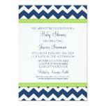 Lime Blue Chevron Custom Baby Shower Invitations