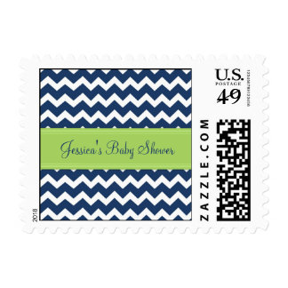 Lime Blue Chevron Custom Baby Shower Stamps