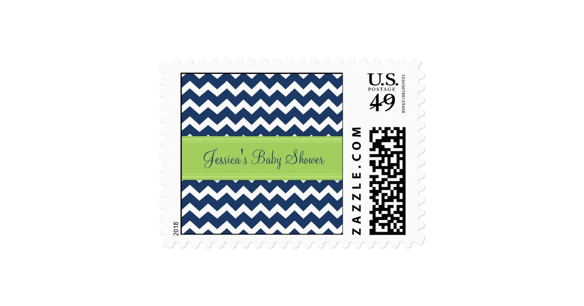 lime blue chevron custom baby shower stamps zazzle