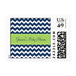 Lime Blue Chevron Custom Baby Shower Stamps