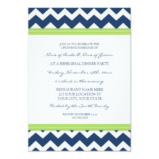 Lime Blue Chevron Rehearsal Dinner Party 5x7 Paper Invitation Card