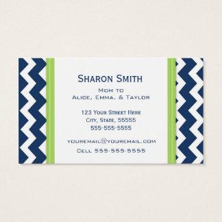 Lime Blue Chevron Retro Mom Calling Cards