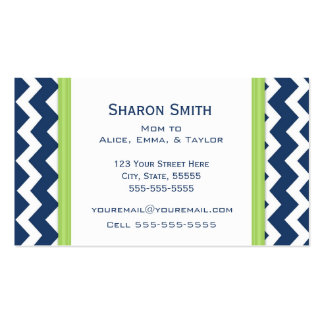 Lime Blue Chevron Retro Mom Calling Cards Double-Sided Standard Business Cards (Pack Of 100)