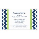 Lime Blue Chevron Retro Mom Calling Cards Business Card Template