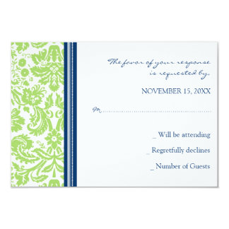 Lime Blue Damask RSVP Wedding Card