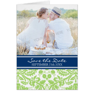 Lime Blue Photo Save the Date Announcement Greeting Cards