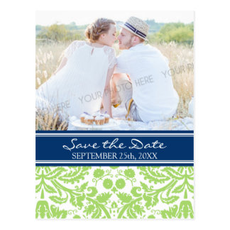 Lime Blue Photo Save the Date Wedding Postcards