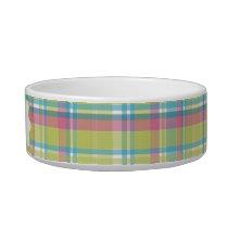 Lime & Blue Plaid Personalized Bowl