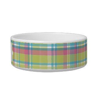 Lime & Blue Plaid Personalized Pet Bowl