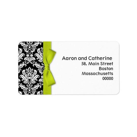 Lime Bow Damask Address Labels