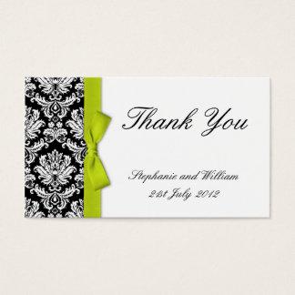 Lime Bow Damask Wedding Thank You Cards
