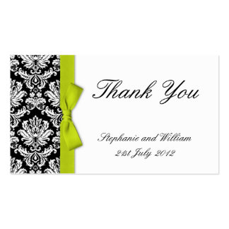 Lime Bow Damask Wedding Thank You Cards Double-Sided Standard Business Cards (Pack Of 100)