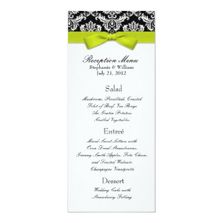 Lime Bow with Damask Wedding Reception Menu Card