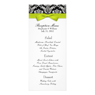 Lime Bow with Damask Wedding Reception Menu Announcement