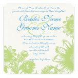 Lime Bright Aqua Vintage Flower Wedding Invitation