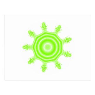Lime Burst Fractal. Green and white. Postcard