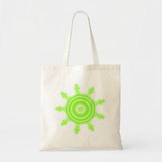 Lime Burst Fractal. Green and white. Tote Bag