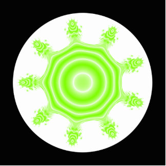 Lime Burst Fractal. Green, black and white. Cutout