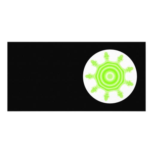 Lime Burst Fractal. Green, black and white. Photo Card