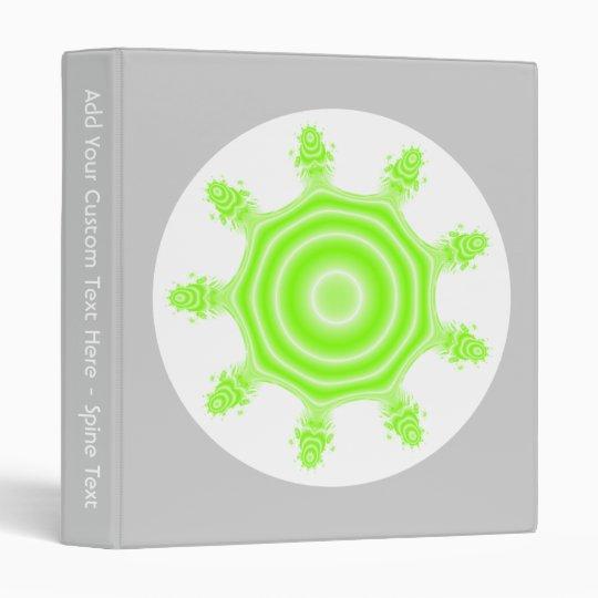 Lime Burst Fractal. Green, gray and white. Binder