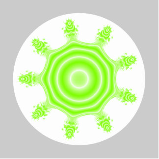Lime Burst Fractal. Green, gray and white. Cutout