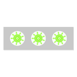 Lime Burst Fractal. Green, gray and white. Double-Sided Mini Business Cards (Pack Of 20)
