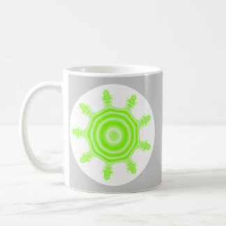 Lime Burst Fractal. Green, gray and white. Coffee Mugs