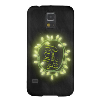 Lime Chalk Drawn Merry and Bright Holiday Galaxy S5 Case