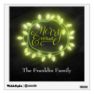 Lime Chalk Drawn Merry and Bright Holiday Wall Sticker
