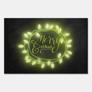Lime Chalk Drawn Merry and Bright Holiday Yard Sign