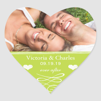 Lime Chalkboard Wedding Save the Date Seal Heart Stickers