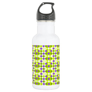 Lime Checks With Blue and Yellow Stainless Steel Water Bottle